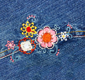 Broderie sur le denim Photo stock