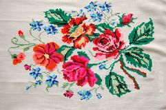 Broderie sur une toile blanche Images stock