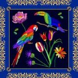 Broderie tropicale d'oiseaux illustration libre de droits