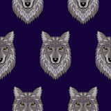 Broderie Wolf Head Seamless Pattern Photographie stock