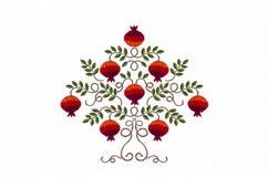 Broderigranatäpple med röda frukter och sidor Arkivfoton