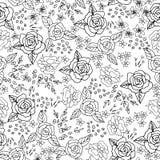 Broderihäftklammer med rosor, äng blommar monokrom Royaltyfri Bild