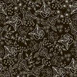 Broderihäftklammer med rosor, äng blommar monokrom Royaltyfri Fotografi