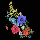 Broderitappning blommar buketten av vallmo, påskliljan, anemon, royaltyfri illustrationer