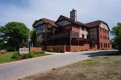 Broderskap- och kvinnoföreninghus på den Iowa delstatsuniversitetet arkivbild