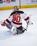 Brodeur #30. Devils' goalie Martin Brodeur makes a kick save at MSG. The Rangers shut out the Devils 3-0. Martin recently broke the NHL record for most wins by a Royalty Free Stock Image