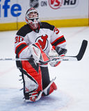 Brodeur Eyes Wide Open. Devils' goalie Martin Brodeur makes a kick save at MSG. The Rangers shut out the Devils 3-0. Martin recently broke the NHL record for Stock Photo