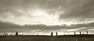 Brodgar圆环 史前石圈子在奥克尼 苏格兰 库存图片