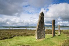 Brodgar arc. A portion of the Orkney neolithic site, the Ring of Brodgar stock photography