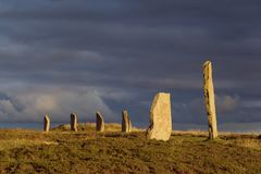 Brodgar glow. A portion of the Orkney neolithic site, the Ring of Brodgar, in evening sunlight royalty free stock photography