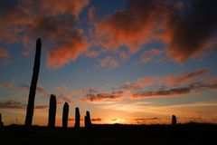 Brodgar pink. A portion of the neolithic site, the Ring of Brodgar in Orkney at sunset royalty free stock image