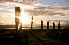 brodgar solnedgång royaltyfria foton