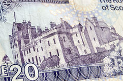 Brodick Castle on Banknote. The historic Brodick Castle on the Isle of Arran reproduced on a Royal Bank of Scotland banknote for twenty pounds sterling.  Used Royalty Free Stock Photography