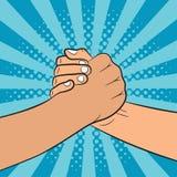 Broederlijke handdrukillustratie in pop-artstijl De vrienden schudden Handen Grappige achtergrond Royalty-vrije Stock Afbeeldingen