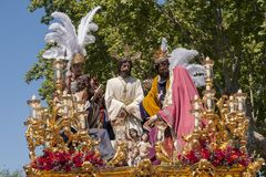 Broederschap del Carmen Painful Holy Week in Sevilla Stock Afbeelding