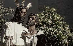 Broederschap van de kus van Judas, Heilige Week in Sevilla, Spanje royalty-vrije stock fotografie