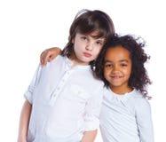 Broer en zuster in de studio stock afbeeldingen