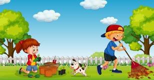 Broer en Zuster Gardening in Sunny Day vector illustratie