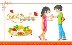 Broer en Zuster het binden rakhi op Raksha Bandhan, Indisch festival vector illustratie