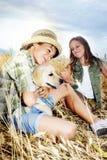 Broer en zuster op een tarwegebied met een hond Royalty-vrije Stock Afbeelding