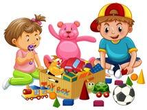 Broer en Zuster Playing Toys vector illustratie