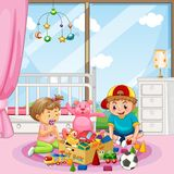 Broer en Zuster Playing Toys stock illustratie