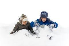 Broers in Sneeuw stock fotografie