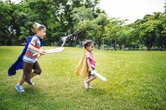 Broerzuster Speels Elementary Childhood Kid stock fotografie