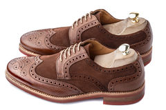 Brogues with shoe trees inserted. Unworn, laced pair of handcrafted shiny, two tone men brogues (also known as derbys, gibsons or wingtips) with shoe trees Stock Photos