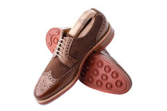 Brogues with shoe trees inserted. Unworn, laced pair of handcrafted shiny, two tone men brogues (also known as derbys, gibsons or wingtips) with shoe trees Royalty Free Stock Photography