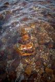 Brogujący skała w falowania morzu obraz stock