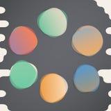 Brogujący wokoło kolorowych akwarela wektoru kształtów Abstrakcjonistyczni sztandary na czarnym tle ilustracja wektor