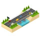 Brohuvudväg över isometrisk sikt för flod vektor Arkivbilder