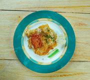 Broiled Cod. With Sun-Dried Tomatoes stock image