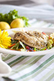 Broiled Fish. A piece of broiled fish arranged artfully on a bed of salad garnished by a yello daisy on a cloth covered table royalty free stock photo