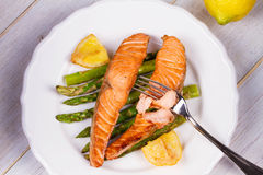Broiled Salmon and Asparagus. stock photos