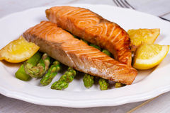 Broiled Salmon and Asparagus. royalty free stock photography