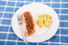 Broiled Salmon with Rice Casserole. A broiled fillet of salmon on a white plate with broccoli and rice casserole stock photo