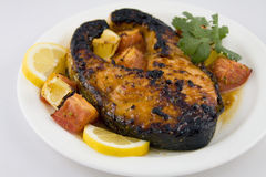 Broiled salmon steak Stock Images