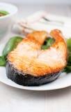Broiled salmon steak Stock Photos
