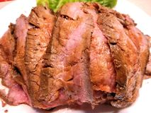 Broiled Strips of Flank Steak stock image
