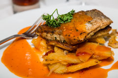Broiled Trout and Potatoes. A meal of broiled fish on baked potatoes in a sauce garnished with parsley royalty free stock photos