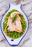 Broiled Trout and Vegetables Royalty Free Stock Image