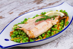Broiled Trout and Vegetables Royalty Free Stock Photography