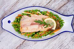 Broiled Trout and Vegetables Royalty Free Stock Images