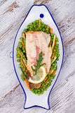 Broiled Trout and Vegetables Stock Photography