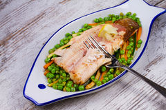 Broiled Trout and Vegetables Royalty Free Stock Photos