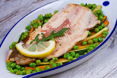 Broiled Trout and Vegetables Stock Photo