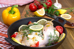 Broiler chicken in a frying pan Stock Images