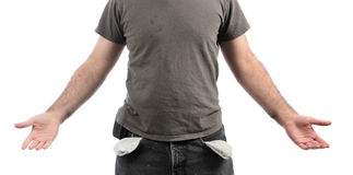 Broke. A broke man with empty pockets, isolated on a white background Royalty Free Stock Image
